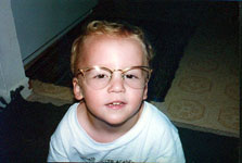 Wearing mom's glasses
